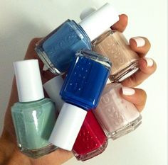 Check out fun spring collection. Which are you gonna try out first? Minty 'Fashion Playground,' the perfect pink 'Romper Room,' the head-turning blue 'Hide & Go Chic'. Essie Nail Polish, Nail Polish Colors, Nail Polishes, Love Nails, How To Do Nails, My Nails, Fancy Hands, Colorful Nail Designs, Fabulous Nails