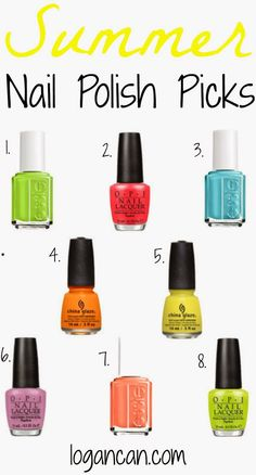 These Nail Polishes are perfect for Summer!..I really like 3 and 7 the best.