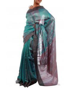 Blue Tussar Silk Saree by Julie Kagti