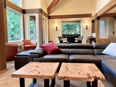 Dining and coffee table by Live Edge Design. Located in the cowichan valley, come visit us to make your dream home project come true! Live Edge Wood, Live Edge Table, Custom Wood Furniture, Furniture Design, Luxury Dining Tables, Modern Platform Bed, Modern Contemporary Homes, Wood Slab, Living Furniture