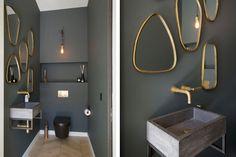 Toilet Room Decor, Downstairs Toilet, Bathroom Toilets, Bathrooms, Toilet Design, Bathroom Trends, Elle Decor, Luxury Living, Candle Sconces