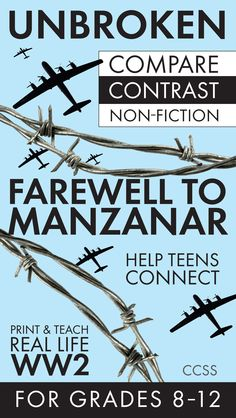 Get teens excited about non-fiction with this two-day lesson featuring a compare-and-contrast of two gripping stories from World War II. Unbroken + Farewell to Manzanar = Awesome lesson!