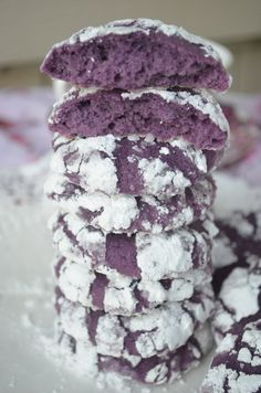 Ube Crinkles Using Homemade Ube Jam Ube Recipes, Cookie Recipes, Dessert Recipes, Easy Recipes, Dessert Food, Cream Recipes, Potato Recipes, Drink Recipes, Crinkle Cookies Cake Mix