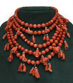 Coral & Diamond Necklace by Belperron circa 1932 | Exhibitor: Pat Saling #necklace #jewelry #AVENUE