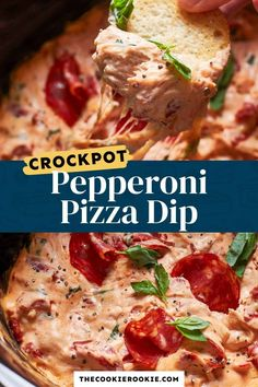 You can't beat Slow Cooker Pepperoni Pizza Dip! Full of flavor and fun, and SO easy! I love this cheesy dip full of pepperonis, basil, and more. Make will all your favorite flavors! Crockpot Pizza Dip, Slow Cooker Recipes, Cooking Recipes, Dip Recipes, Bbq Chicken Dip, Pepperoni Pizza Dip, Football Food, Game Day Food
