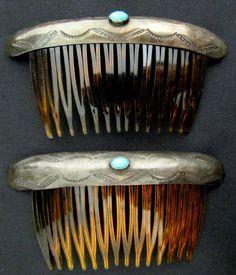 Vintage Navajo Sterling Silver Hair Combs PAIR Old Pawn Stamped Designs *TB370 | eBay