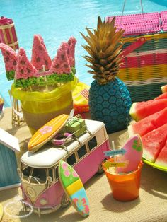 Ride the perfect wave to check out the totally awesome details of this Endless Summer surf party, providing refreshing ideas for your next pool party! Happy Birthday Girls, Summer Birthday, First Birthday Parties, Birthday Ideas, Tiki Party, Luau Party, Barbacoa, Teen Beach Party, Summer Party Themes