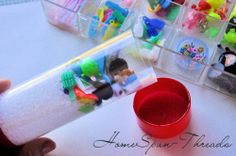 I-spy tube: clear mailing tube, filled halfway with clear poly beads, add tiny toys, then glue it shut! Fun Crafts, Crafts For Kids, I Spy Games, Alphabet Crafts, Classroom Fun, Craft Activities For Kids, Fun Projects, Kids Toys, Sensory Table