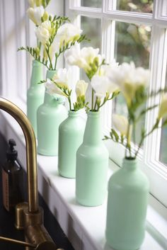 Mint Bottle DIY from Cupcakes & Cashmere with #marthastewartcrafts paint