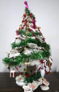 Christmas tree made from sea shells