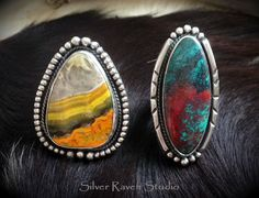 A few handcrafted statement rings by marie Murphy heading out to their new home soon ~ these colorful beauties feature Bumblebee Jasper & Sonora Sunrise! Similar styles can be found at www.SilverRavenStudio.Etsy.com