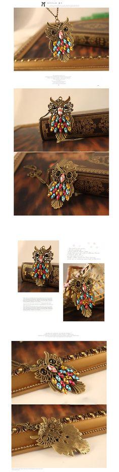 Vintage Retro Owl Sweater Chain Pendant Necklace Alloy Necklace