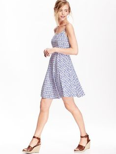 Women's Poplin Cami Fit & Flare Dresses Product Image
