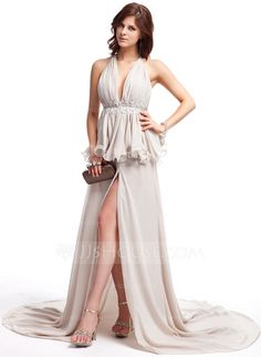A-Line/Princess V-neck Court Train Chiffon Prom Dress With Lace Beading Split Front Cascading Ruffles (018006729)