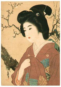 Hirezaki Eiho: Lithograph- Bijin and plum tree - Japanese Art Open Database