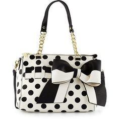 Betsey Johnson Gift Me Baby Bow Polka-Dot Satchel Bag