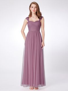 041ac14e8647 Long Purple Bridesmaid Dress with Ruched Bust
