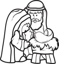 Mary, Joseph, & Baby Jesus Coloring Page #2