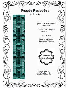 Peyote Cuff Bracelet Pattern Optical Illusion Geometric Miyuki Delicas Any Color by CinfulBeadPatterns on Etsy