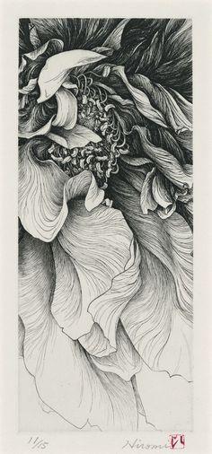 Hiromi Miura. A Flower, Etching, 26x11cm, 2005.: