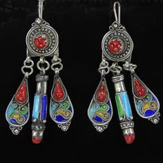 A pair of Amazigh tribal earrings from Algeria