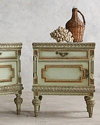 Vintage Shabby Sea Green Nightstands Side Tables Pair