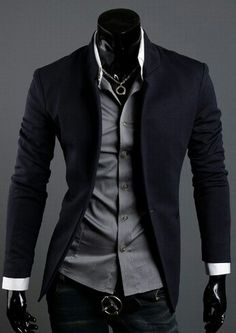 - Business casual wear: Korean style 2013 Men's Mandarin Collar Blazer. I think it is so hot when a guy takes the time to look nice. Source by jarysusan - Casual Mode, Casual Wear, Men Casual, Casual Suit, Casual Attire, Casual Blazer, Smart Casual, Fashion Mode, Korean Fashion