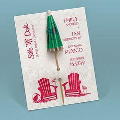 Kickin' Back {Cocktail} Umbrella Save-the-Date Wedding Announcement #weddings