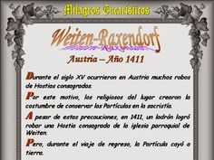 Leamos la BIBLIA: Milagros Eucaristicos 14-11-2014