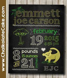 Jungle Nursery Art Lion King Simba Baby Birth Stats Chalkboard Sign by Chalkolate Cake on Etsy www.chalkolatecake.com