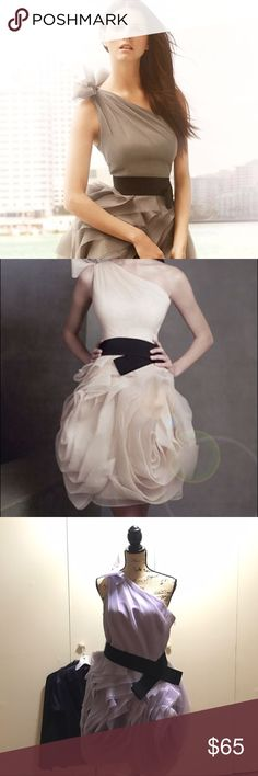 Vera Wang one shoulder Organza bridesmaid dress This one shoulder Organza Lavender dress has a rose shaped bottom giving it a perfect 3-D feel, sure to make a statement at any party,wedding, or dance. Comes with slimming elastic waist belt Vera Wang Dresses One Shoulder