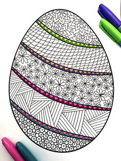 Banded Easter Egg  PDF Zentangle Coloring Page