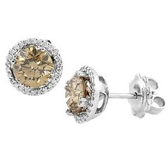 Jewelry Point - 2.52ct VS1 Fancy-Brown Diamond Halo Stud Earrings 14k White Gold, $6,950.00 (http://www.jewelrypoint.com/2-52ct-vs1-fancy-brown-diamond-halo-stud-earrings-14k-white-gold/)