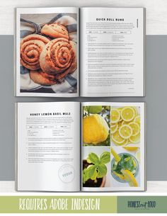 Cookbook and Recipe Template for Adobe InDesign Instant Adobe Indesign, Cookbook Template, Cookbook Design, Magazine Layout Design, Book Design Layout, Design Design, Baking Magazines, Adobe Illustrator, Quick Rolls