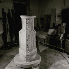 Josh's gothic style sundial for a haunted manor house. The plinth contains 12 carved panel's with different designs and some miniature grotesques hidden under the dial to help ward away evil spirits! There will be a brass dial on top when installed.  #sundial #stonecarving #stonemasonry #gothic