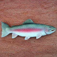 Folk Art Fish Wood Carving Trout wood carving Fathers by WOODNARTS, $50.00