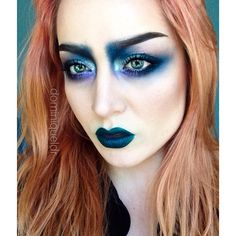all the time. on the face: dip brow and contour, Chrome pigments (silver and copper) with navy blue pigment. Violette piment on lower. Blow and the Navy pigment on the lips. Full Face Makeup, Crazy Makeup, Makeup Looks, Makeup Inspo, Beauty Makeup, Eye Makeup, Androgynous Makeup, Blue Pigment, Bright Makeup