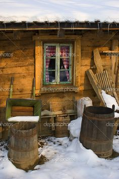 Wooden country house window...