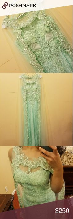 Beaded Floral Laced Bateau Neck Fit and Flare Gown Beautiful floral laced long dress. You can wear to a prom a wedding a party whatever you desire. It has a beautiful net cape with a tail. Only wore literally for 5 mins to take pictures. Brand new. Price negotiable. Dresses Prom