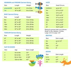 Baby clothes size-chart