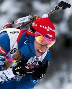 Gabriela Koukalova of Czech Republic competes during the women's 7,5 km sprint event of the IBU Biathlon World Cup in Oberhof, eastern Germany, on January 6, 2017. .Gabriela Koukalova of Czech won the race ahead of Kaisa Makarainen (2nd) of Finalnd and Marie Dorin Habert of France (3rd). / AFP / ROBERT MICHAEL