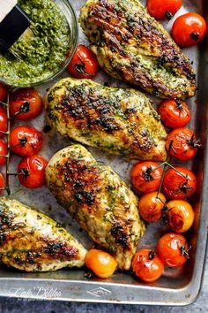 Pesto Chicken GRILLED OR OVEN BAKED, smothered in a creamy, homemade Basil Pesto! Only 2 main ingredients needed, this chicken is out of this world!