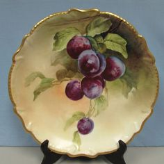 Vintage Limoges LR&L hand painted plums charger Lazeyras signed Henriot