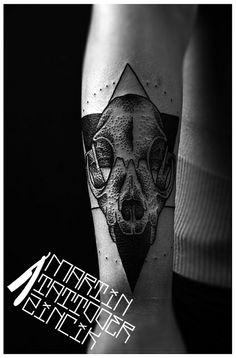 Dotwork tattoo cat skull. Czech tattoo artist - Martin Tattooer Žinčík - BS Bulldog studio