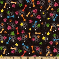 Playful Pets Flannel Bones & Paws Black - Discount Designer Fabric - Fabric.com