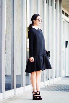 Summer Dress Transition into Fall(2): Drop Waist Dress and Platform Sandals - Hallie Daily
