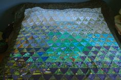 A different view of my equilateral triangle queen quilt (2012).