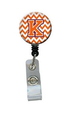 Letter K Chevron Orange and Regalia Retractable Badge Reel CJ1062-KBR