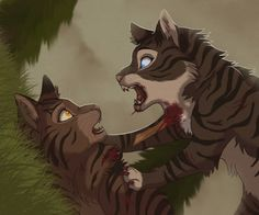 This is one of the biggest shockers in Warriors history! Brambleclaw killing his half-brother, Hawkfrost! Well... Hawkfrost did deserve it. Go Brambleclaw! Boooo! Hawkfrost sucks!