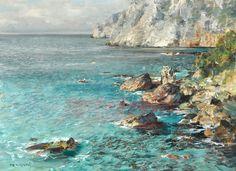 Perindani Carlo (Milano 1899 - Capri 1986) Marina di Capri olio su tela, cm 30x40